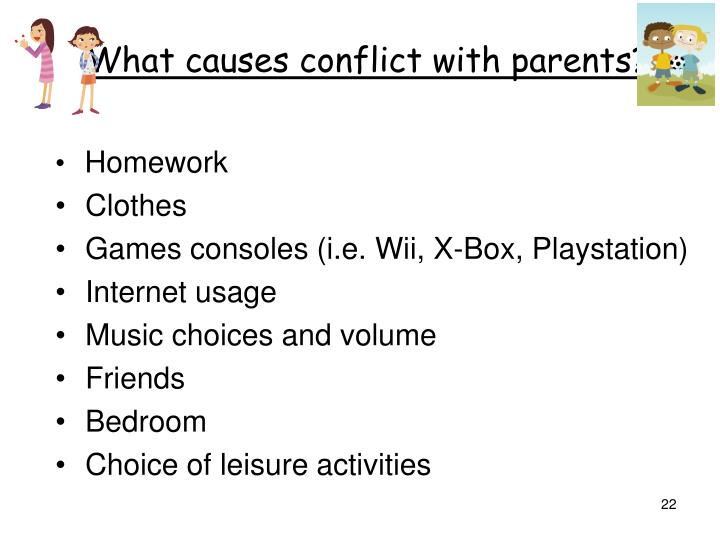 What causes conflict with parents?