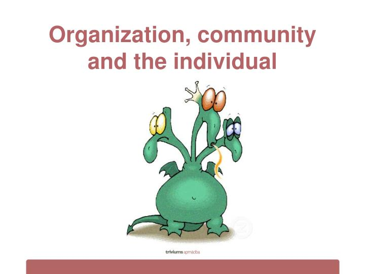 Organization, community and the individual