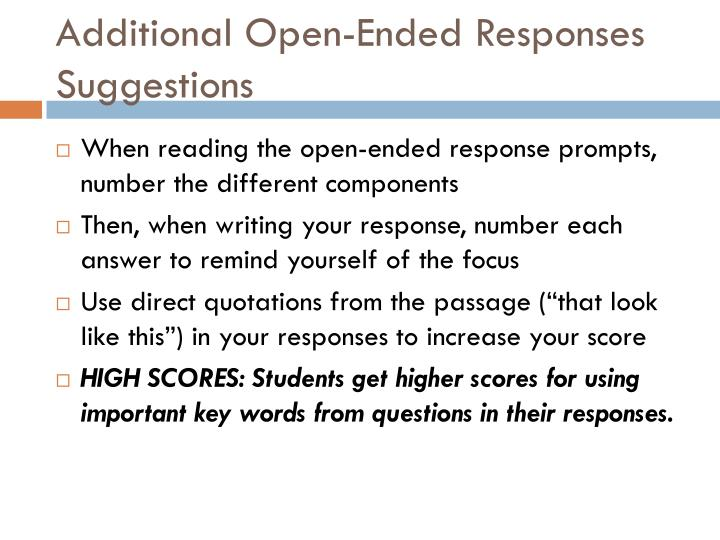 Additional Open-Ended Responses Suggestions