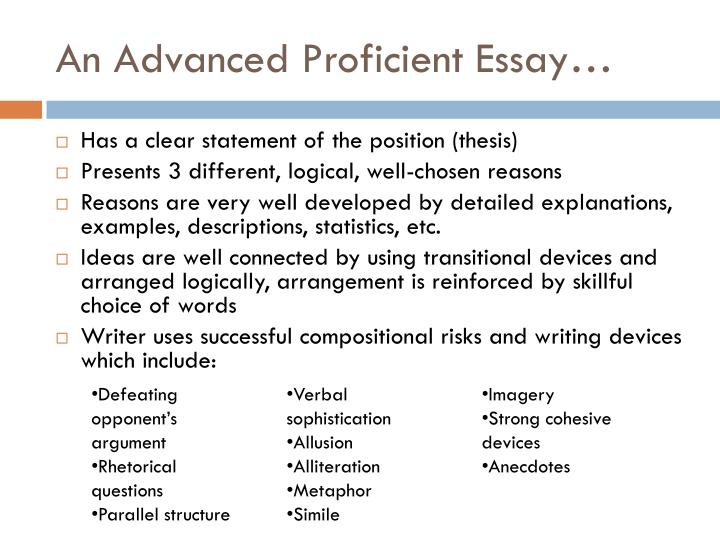An Advanced Proficient Essay…