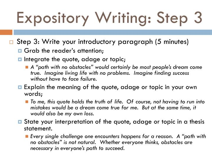 Expository Writing: Step 3