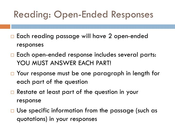 Reading: Open-Ended Responses