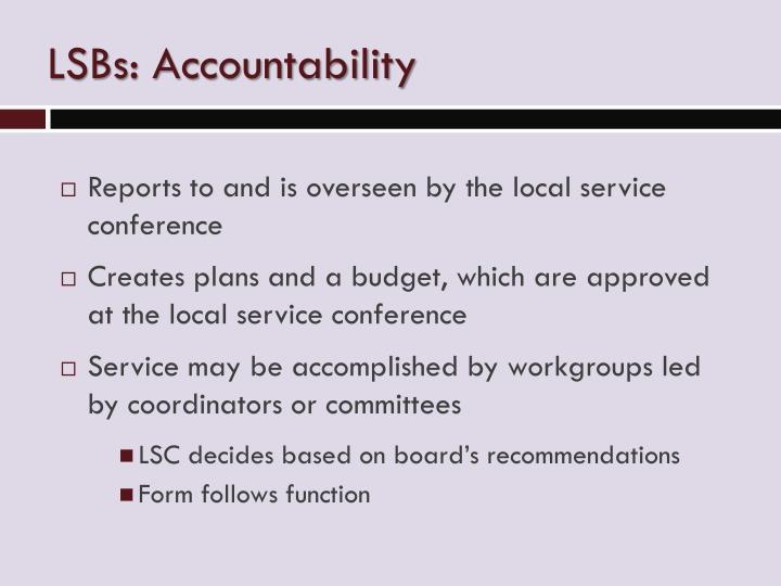 LSBs: Accountability