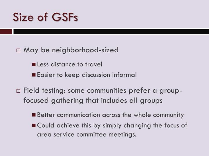 Size of GSFs