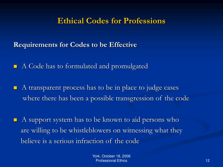 Ethical Codes for Professions