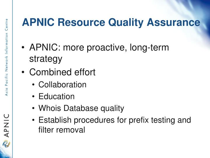 APNIC Resource Quality Assurance