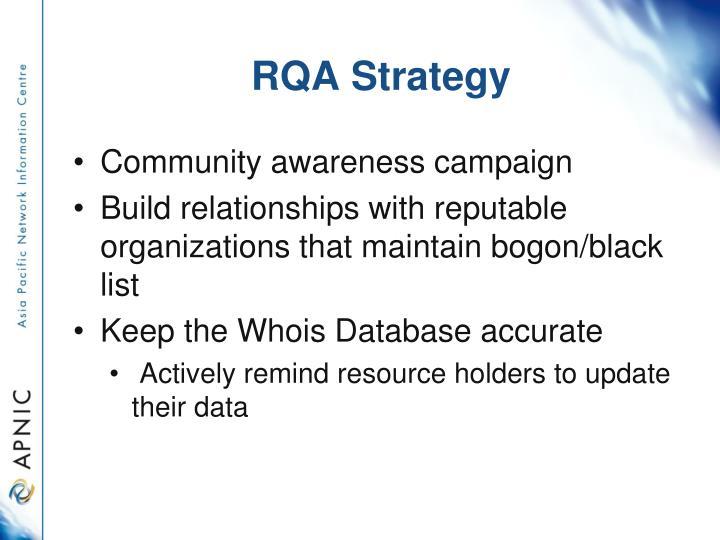 RQA Strategy