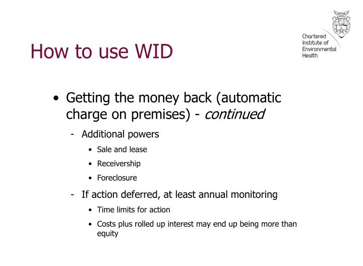 How to use WID