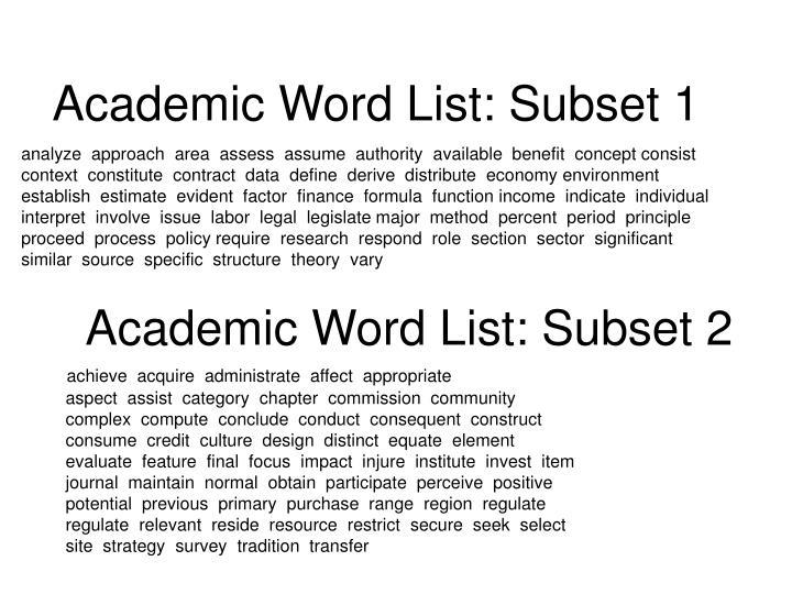 Academic Word List: Subset 1