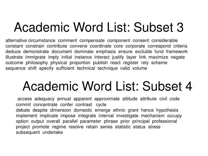 Academic Word List: Subset 3