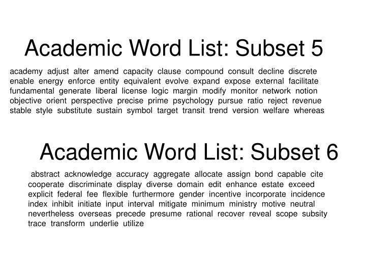 Academic Word List: Subset 5