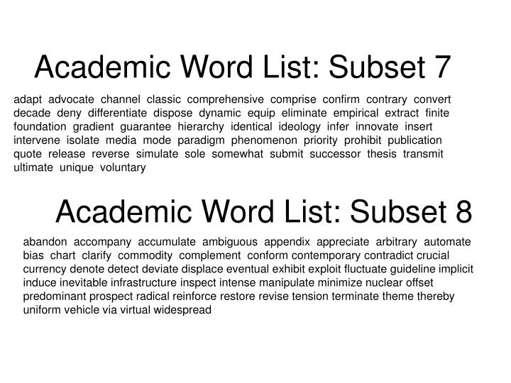 Academic Word List: Subset 7