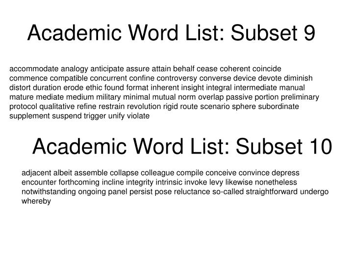Academic Word List: Subset 9