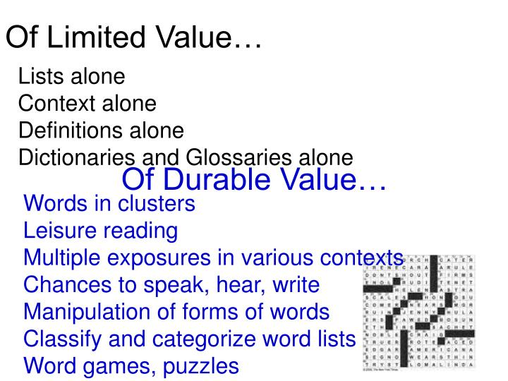 Of Limited Value…
