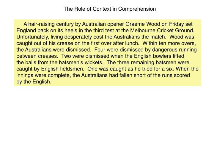 The Role of Context in Comprehension