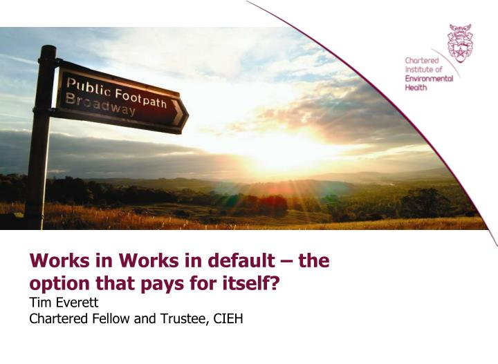 Works in Works in default – the option that pays for itself?