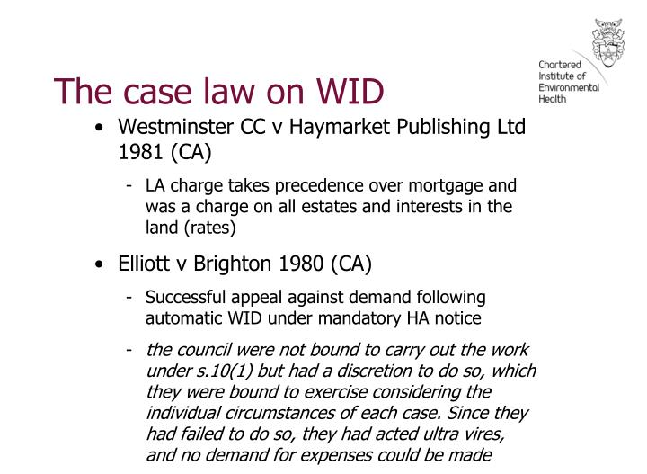 The case law on WID