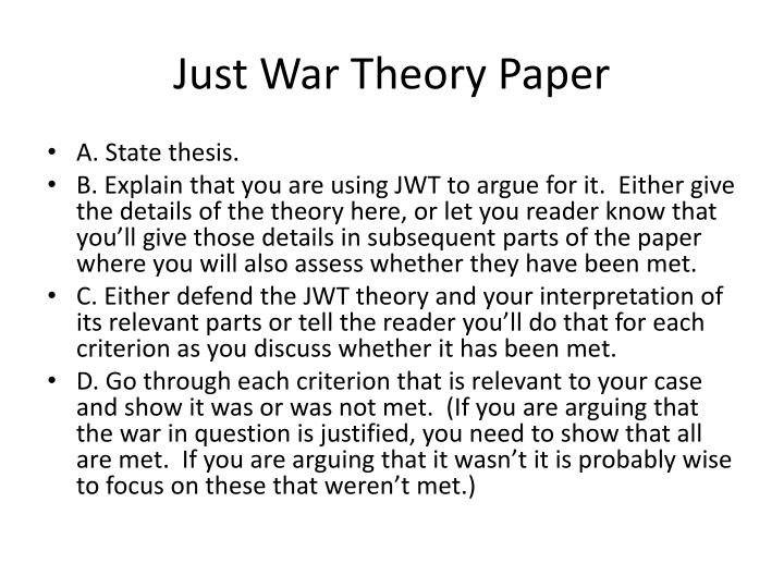 Just War Theory Paper