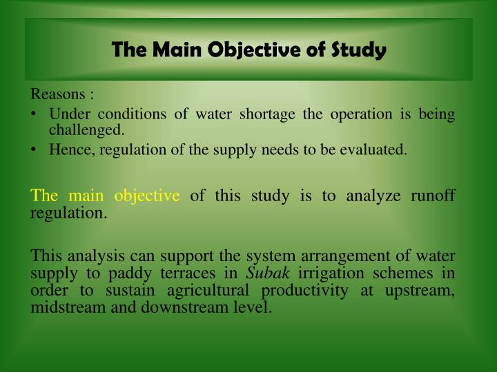 The Main Objective of Study