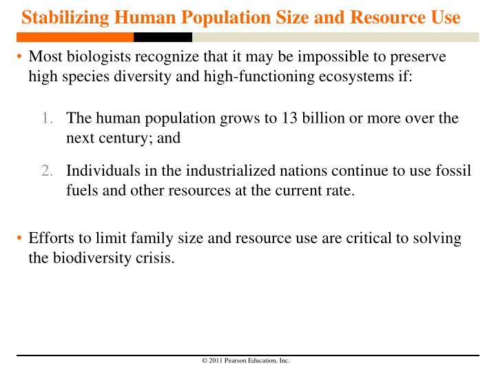 Stabilizing Human Population Size and Resource Use