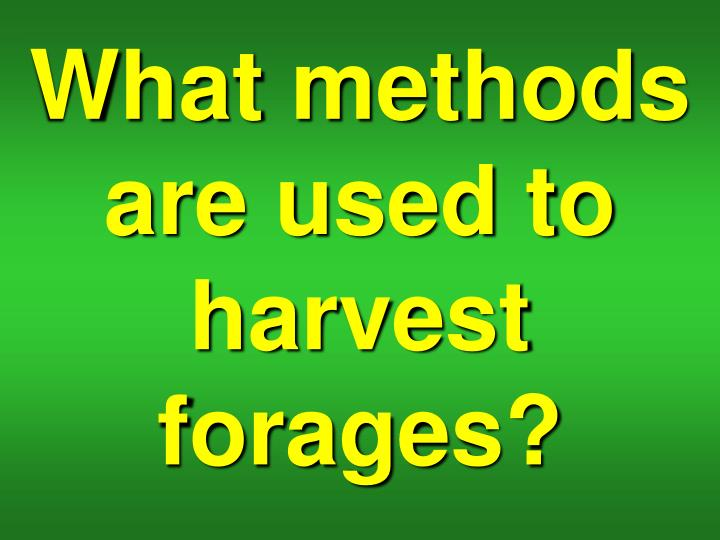 What methods are used to harvest forages?