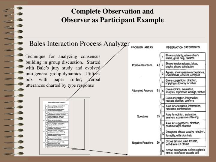 Complete Observation and Observer as Participant Example