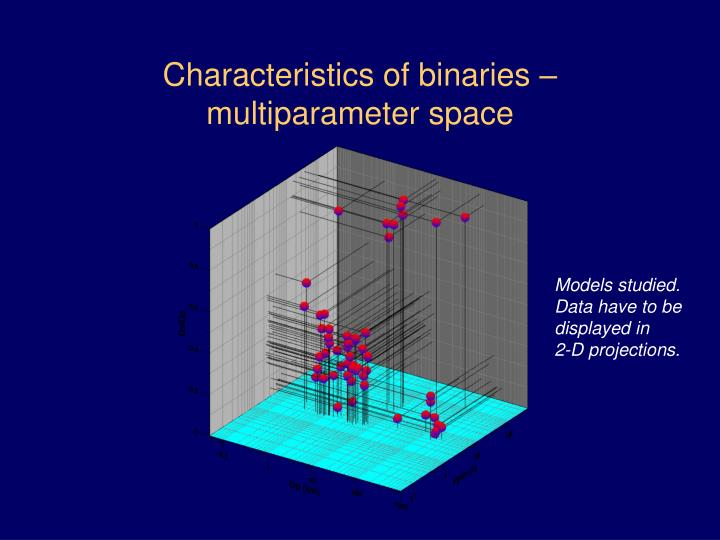 Characteristics of binaries – multiparameter space