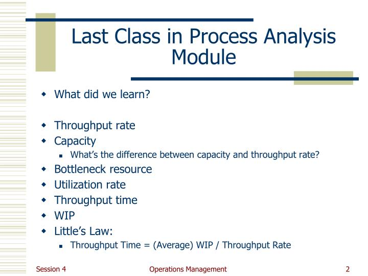 Last class in process analysis module