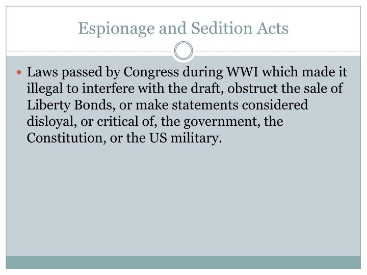 Espionage and Sedition Acts