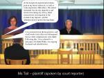 ms tait plaintiff spoken by court reporter