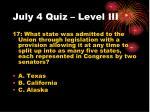 july 4 quiz level iii
