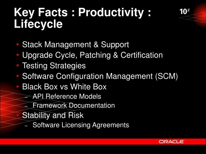 Key Facts : Productivity : Lifecycle