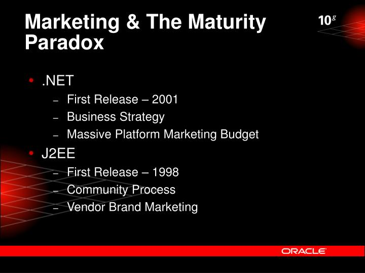 Marketing & The Maturity Paradox