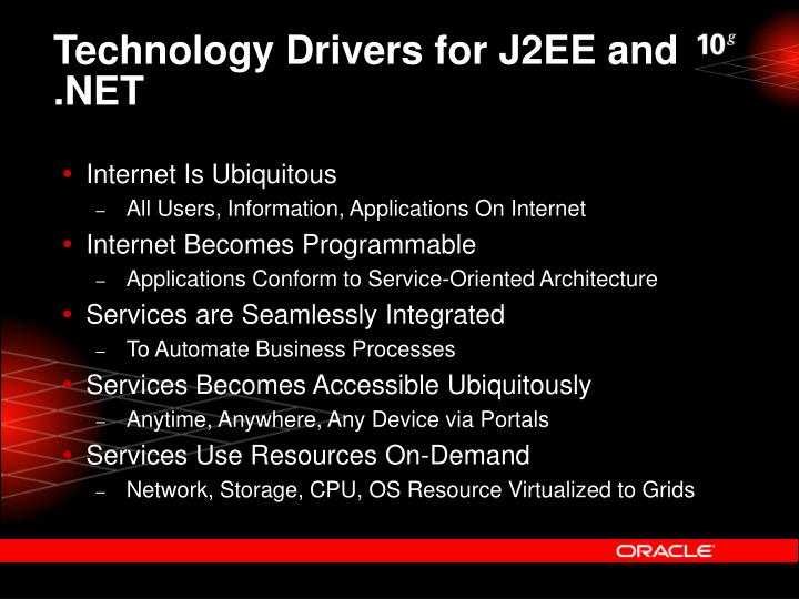 Technology Drivers for J2EE and .NET