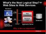 what s the next logical step web sites to web services