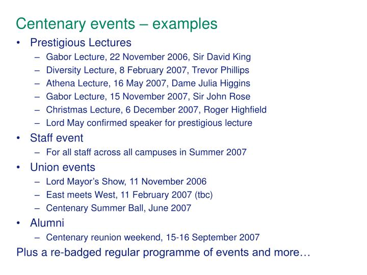 Centenary events – examples