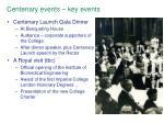 centenary events key events