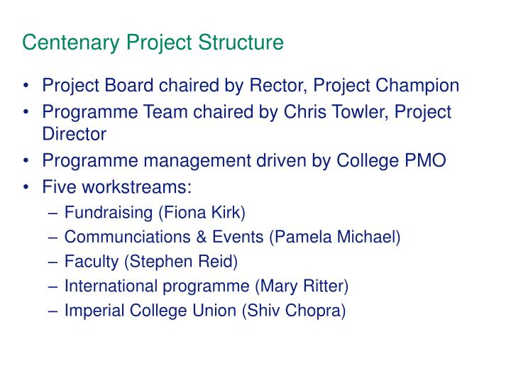 Centenary Project Structure
