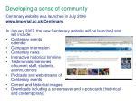 developing a sense of community