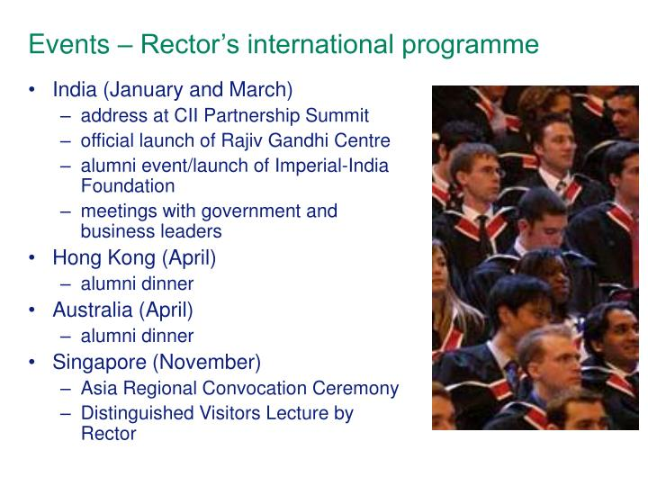 Events – Rector's international programme