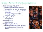 events rector s international programme