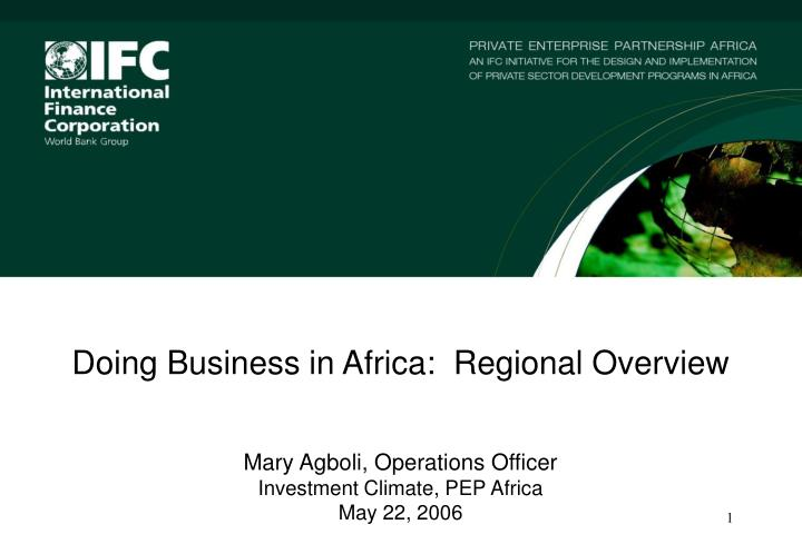 Doing Business in Africa:  Regional Overview