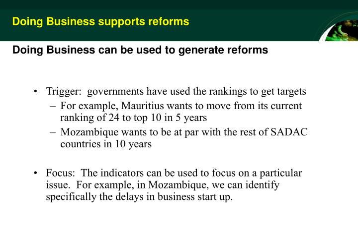 Doing Business supports reforms