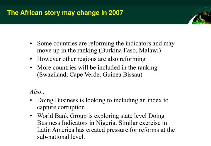 The African story may change in 2007