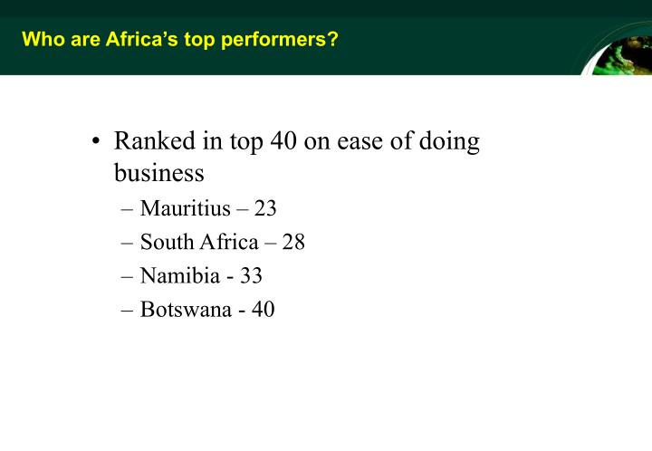 Who are Africa's top performers?