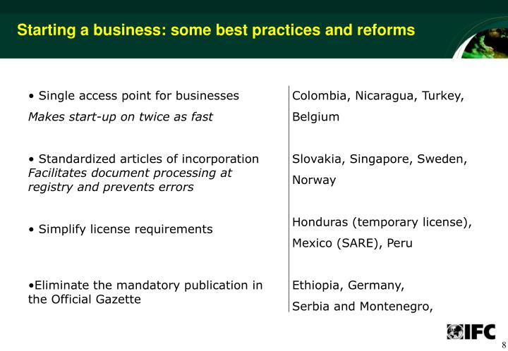 Starting a business: some best practices and reforms