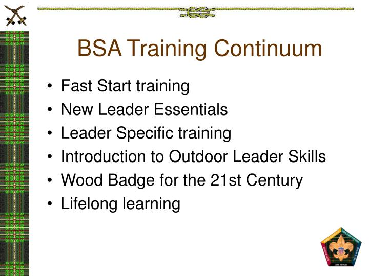 Bsa training continuum