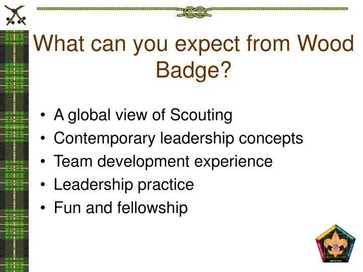 What can you expect from Wood Badge?