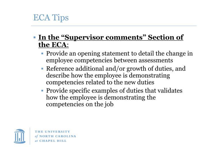 ECA Tips
