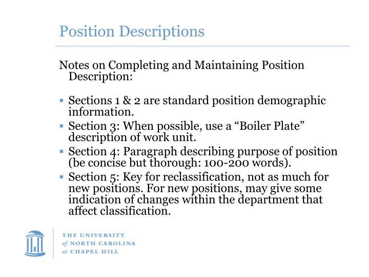 Position Descriptions